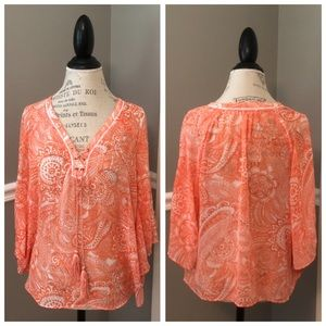 ORANGE & WHITE PULL OVER SHEER CORD TIE TOP